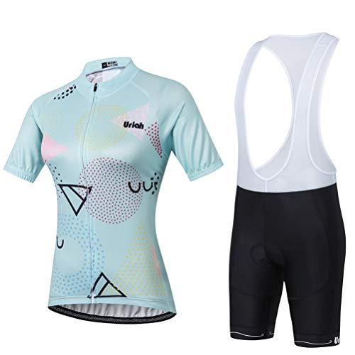 Uriah Women's Cycling Jersey Bib Shorts Sets Short Sleeve 3D Gel Padded Geometric Size XL(CN)