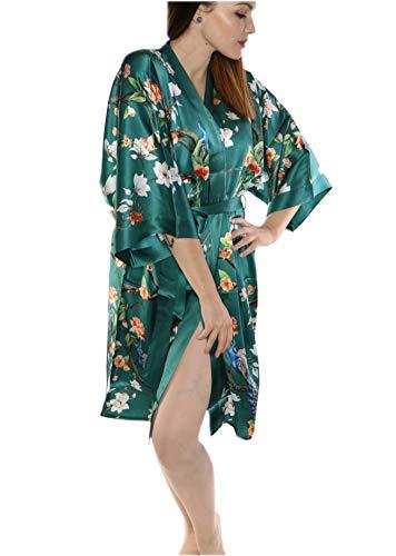 prettystern Damen Knie-lang Seide Kimono Wickel-Kleid Morgenmantel Robe Floral Print Dunkel-grün Pfau Garten K08