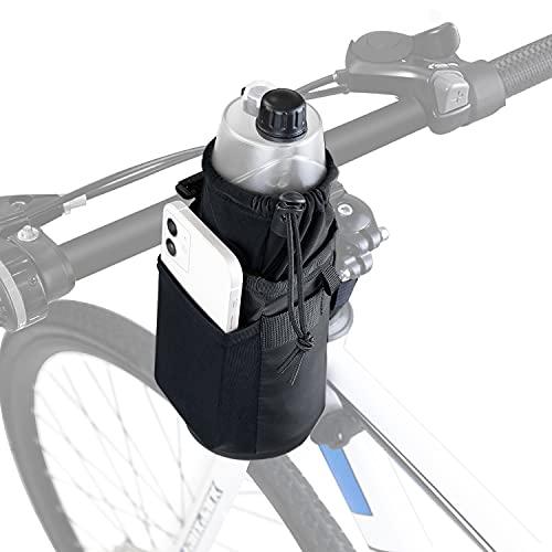 WOTOW Bolsa de Botella de Agua de Bicicleta, Bolsa de Soporte para Botella Agua de Bicicleta sin Tornillos 4 Correas sujeción Marco Ciclismo Bolsa Almacenamiento Impermeable (1L) (Negro)