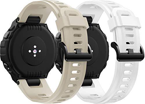 Abasic Correa de Reloj Compatible con Amazfit T-Rex, Silicona Correa Reloj con Acero Inoxidable Hebilla desplegable (Blanco + Beige)