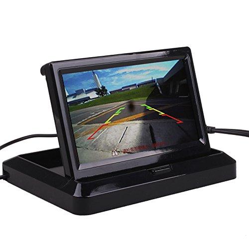 Pantalla de visión trasera con cámara HitCar, tamaño pequeño, color, digital, plegable, HD TFT-LCD, 4,3 pulgadas, ideal para aparcar marcha atrás