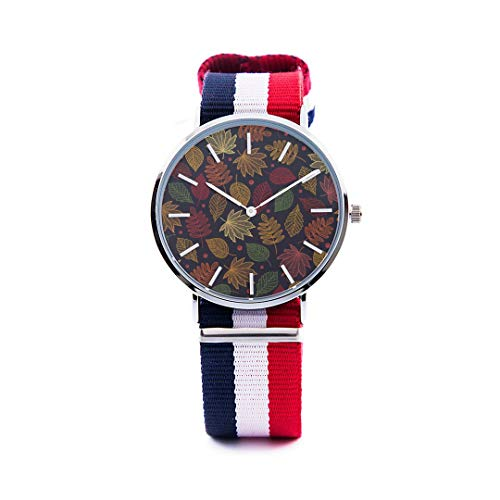 Unisex Fashion Watch Abstract Background Maple Leaf Aspen Leaf Pumpkin Autumn Design Print Dial Quartz Stainless Steel Wrist Watch with Nylon NATO Strap Watchband for Women 36mm Casual Watch -  NQEONR, 20190321-NylonWatch-343-1268139403