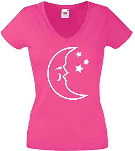 JINTORA T-Shirt - Chemise Femme Rose - V-Cou - Taille L - Lune & ÉTOILES - Espace Ciel - JDM/La Coupe - pour la fête Carnaval Travail et Loisirs