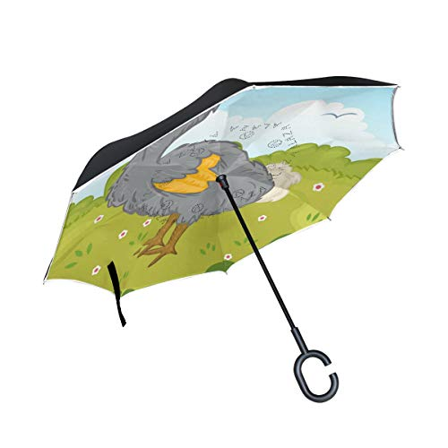 Why Should You Buy PNGLLD Dodo Bird Animal Inverted Umbrella Double Layer Reverse Folding Umbrella w...