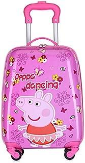 MissTiara - 18 Inch Lightweight Kid's Travel Luggage suitcase Children School Trolley bag Cartoon Rolling Bag on wheels (Dancing peppa)