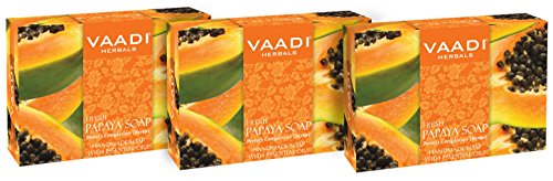 Vaadi Herbals Organic Soap Bar Fresh Papaya Soap Natural Soap Antibacterial Soap For All Skin Type Sulfate Free 3 X 75 G