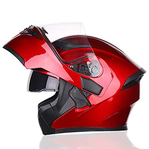 Cascos De Motocicleta, Casco Moto Modular Hombre Mujer Con Doble Visera Casco De Moto Integral Modular Homologado ECE/DOT Cascos Integrales De Moto Casco Abatible Moto Red,XL