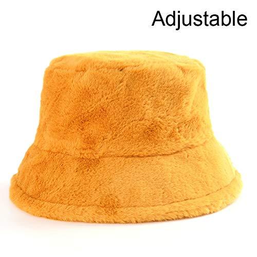 Sombreros de Cubo de Felpa con Estampado de Invierno para Mujer, Sombrero de Sol cálido al Aire Libre, Gorra de Pescador de Terciopelo Suave, Moda para Mujer-Yellow