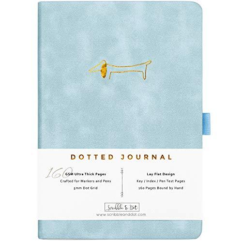 Bullet Cuaderno A5 Journal / agenda punteada - Dachshund - Papel ultra grueso de 160gsm - Agenda encuadernada a mano - Diario punteado perfecto para artistas y creadores -Inglés