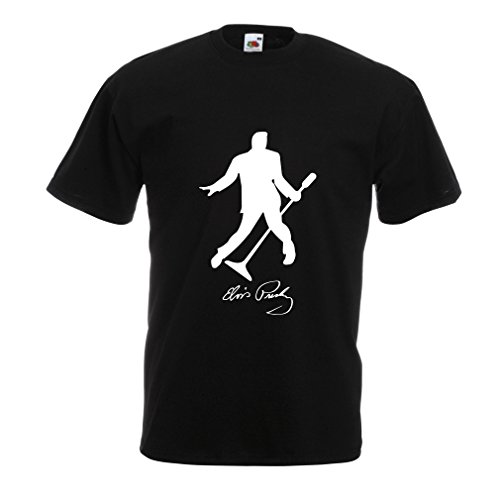 lepni.me Camisetas Hombre Me Encanta el King of Rock and Roll, 50s, 60s, 70s, Music Fan (Large Negro Blanco)