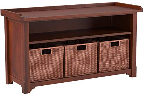 Product Image 7: Winsome Wood MilanWood Storage Bench in Antique Walnut Finish with Storage Shelf and 3 Rattan Baskets in Antique Walnut Finish