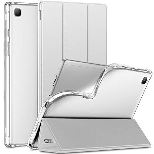 INFILAND Hülle für Samsung Galaxy Tab A7 10.4 Zoll (SM-T500/T505/T507) 2020, Samsung Tab A7 Hülle, Transluzent TPU Schutzhülle Hülle mit Auto Schlaf/Aufwach,Silber
