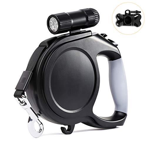 Alihoo Hundeleine, 8M Einziehbare Hundeleine, Walking Trainingsleine mit Abnehmbarer Taschenlampe für Hunde mit einem Gewicht von bis zu 40kg (8M, Schwarz)