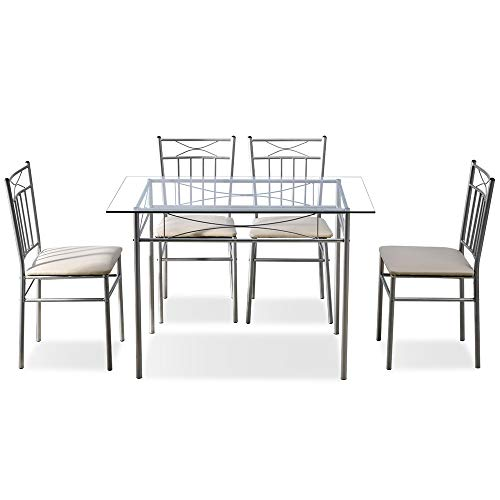Veryke 5 Piece Dining Room Table Set Modern Metal & Glass Dining Table Furniture for Kitchen,Dining Room,with Glass Top Dining Table,4 Chairs - Silver