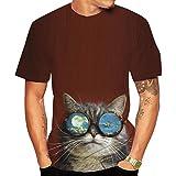 Camiseta Camisetas Sueltas con Estampado Animal De Gato 3D-I_SG