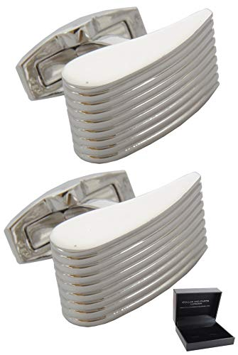 COLLAR AND CUFFS LONDON - Boutons de Manchette avec Boite-Cadeau - Grand Qualité - Coin Design - Laiton - Couleur Argent - Classique Élégant