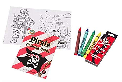 48-Piece Mini Pirate Coloring Set ~ 24 Coloring Books And 24 Boxes Of Pirate Crayons ~
