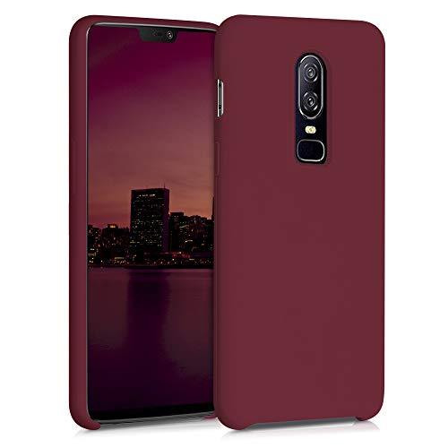 kwmobile Hülle kompatibel mit OnePlus 6 - Hülle Handyhülle gummiert - Handy Hülle in Rhabarber Rot