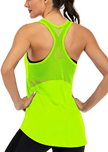 Fihapyli Workout Tank Tops for Women Sleeveless Yoga Tops for Women Mesh Back Tops Racerback Muscle Tank Tops Workout Tops for Women Backless Gym Tops Running Tank Tops Activewear Tops Green M