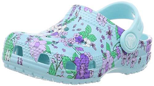Crocs Classic Floral Clog PS, Freizeit- und Sportbekleidung für Kinder, Unisex, Kinder, Blau - blau-Eisblau - Größe: 32/33 EU