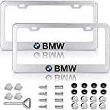 Matte Silver Metal License Plate Frame for BMW with Chrome Screw Caps & Stainless Steel Screws, Accessories for BMW, License Plate Cover for BMW, License Plate Holder for BMW (2 Car Plate Frames)