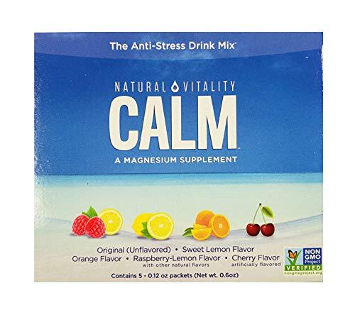 Natural Vitality Anti Stress Calm Magnesium Citrate Powder Supplement Drink | Raspberry Lemon Sweet Lemon Orange Cherry Original Unflavored Variety (5-Count)