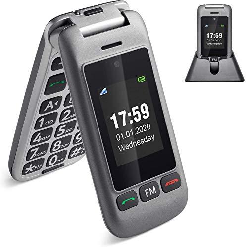 Artfone 3G Teléfono Celular Senior para Personas Mayores Teclas Grandes para Mayores con MMS, SOS, Cámara, 2,4 Pulgadas, con una Base de Carga - Gris