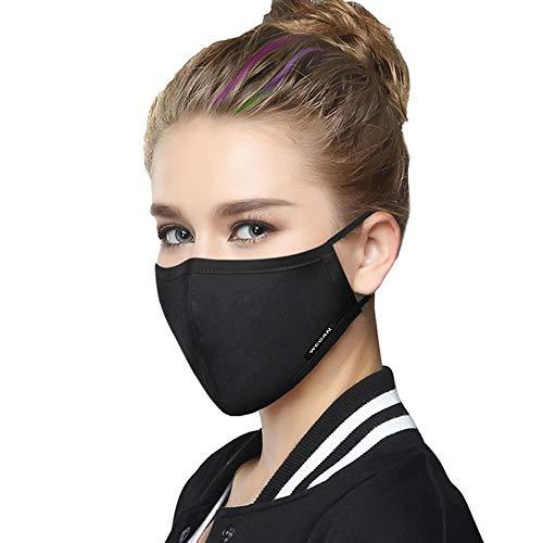 Wecan 2pcs Washable Face Anti-dust Mask with 4pcs PM 2.5 Active Carbon AC Filters, Anti Pollution Haze Cotton Balaclavas, Black