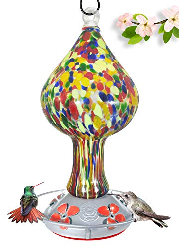 Colorful Hand Blown Glass Hummingbird Feeder...