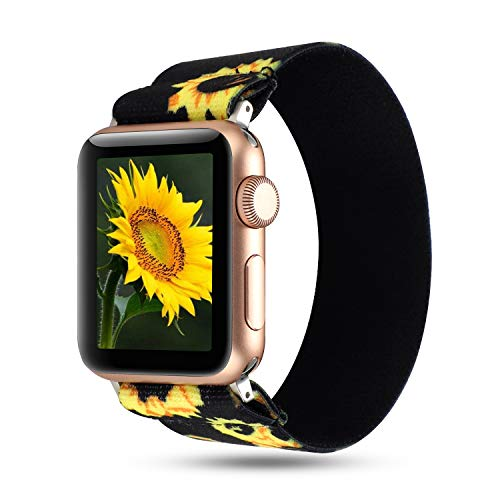 WONMILLE Scrunchie Band Compatible with Apple Watch Band Series 5/4 38mm/40mm, Nylon Elastic Bracelet Women Replacement Wristbands for iWatch 3/2/1 42mm/44mm Accessories (Sunflower, 38mm/40mm)