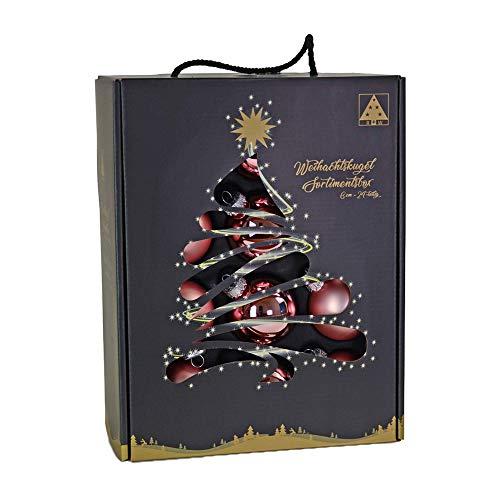 Riffelmacher & Weinberger 26255 - Set di 24 palline di vetro natalizie, 12 x opache, 12 x lucide, diametro: 6 cm, confezione senza PVC, colore: Rosa antico