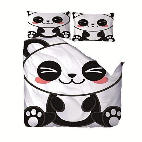 MJJLDMM Juego de Funda de edredón 140 X 200 cm Panda de Dibujos Animados Blanco Negro impresión Digital Microfibra Hipoalergénico con cremalleraFunda Edredon y con 2 Fundas de Almohada 3 Piezas