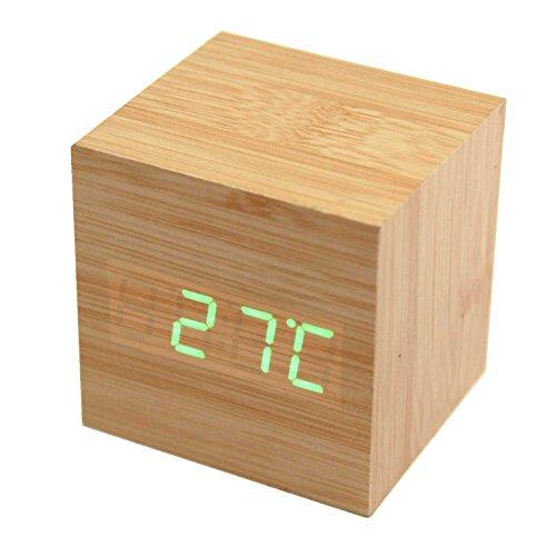DAYAN Reloj de madera cuadrada LED de alarma del reloj de Termómetro de creativo del reloj de tabla - 2