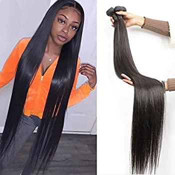30 inch Bundles Straight Long Human Hair Bundles Brazilian Virgin Hair 1 Bundle 30 in Bundle 100% Unprocessed Virgin Hair Bundles Long Straight Hair Weave Bundles for Black Women
