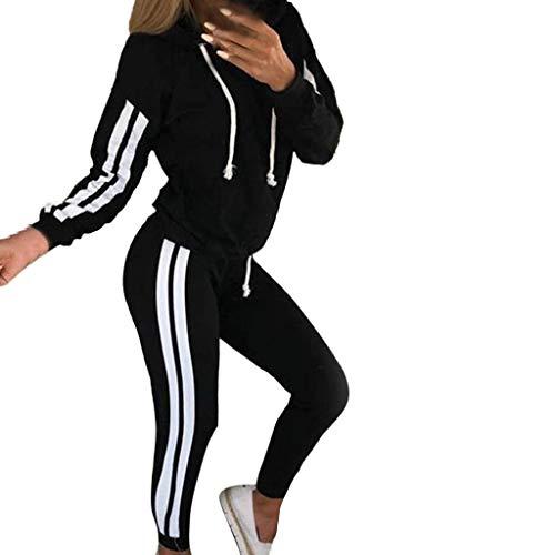 Damen Sportanzüge Jogging Anzug Trainingsanzug Mode Streifen Zipper Langarm Kapuzenpullover Hoodie Sweatshirt + Lange Hose Sportswear 2 Set (L, Schwarz B)