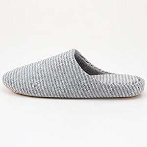 MUJI New Cotton Jersey Insole Cushion Slippers Room Shoes Unisex (L, Gray Border)
