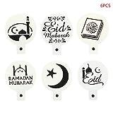 Tkdncbec - Juego de 6 Plantillas de espray para decoración de Tartas y Fondant de Eid Mubarak Ramadan