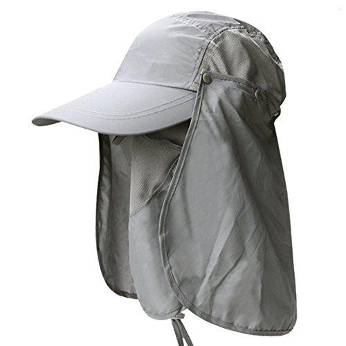 Nikgic 360° Sonnenschutz Sonnenhut Hut Anti-UV Strandhut Sonnenhut UV-Schutz FischenhutAngeln Schirmmütze Hüte Mützen mit Abnehmbarer Hellgrau