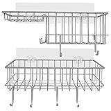 Cesta de ducha sin taladrar, estante de pared con 6 ganchos y soporte para...