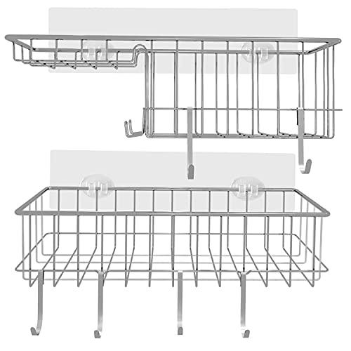 Cesta de ducha sin taladrar, estante de pared con 6 ganchos y soporte para jabón, cesta de ducha, estante de ducha, estante de ducha de acero inoxidable SUS304, 2 unidades