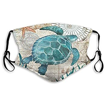 Marine Life Sea Turtle Dust Reusable Washable Face Mouth with Activated Carbon Filter Men and women for Warm Windproof Cotton Face