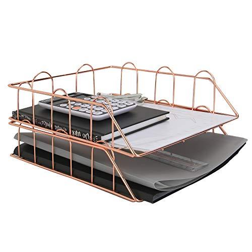 Bandejas tamaño A4 color oro rosa | 2 cestas de escritorio apilables | Organizador de escritorio de oficina | Portapapeles y documentos metálico|M&W