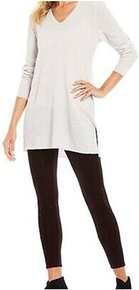 Eileen Fisher Pearl Washable Wool Crepe V-Neck Top Large