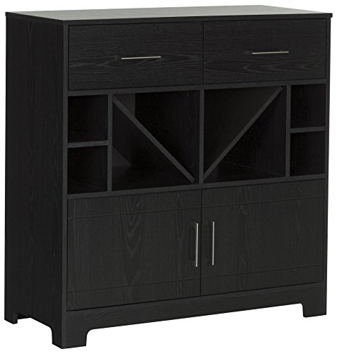 South Shore Vietti Bar Cabinet with Liquor and Wine Bottle Storage with Drawers, Black Oak with Metal Handles