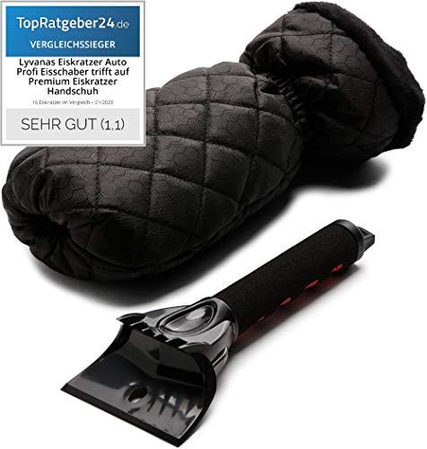Lyvanas Eiskratzer Auto - VERGLEICHSSIEGER 2020 (Note 1,1)* - Profi Eisschaber trifft auf Premium Eiskratzer Handschuh - top Effizienz kombiniert mit 100% Komfort (Schwarz)