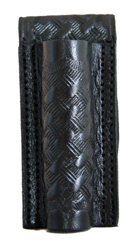 HWC Leather Mini Maglite Mag BASKETWEAVE Black Flashlight Case Holder Holster Open Top with Snap & Belt Loop