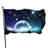 Banderas Estrellas Luna Nubes Brumosas Y Lago Color Vivo Y Resistente A La Decoloración Con 2 Ojales De Metal Decoraciones Del Festival Banderas Al Aire Libre 90X150 Cm