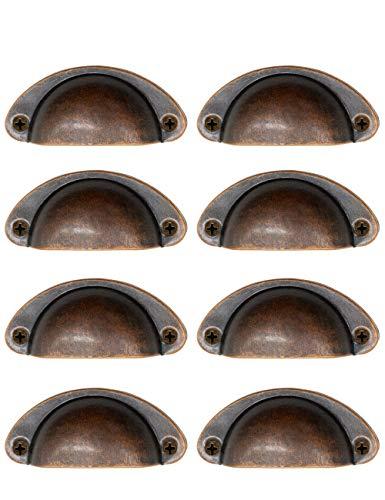 KostaTech 8 Stück Retro Shell Pull Griffe, Möbel Antike Türgriffe, Retro Semicircle Home Pull Griff für Schublade, Küche, Schrank, Schränke, Tür