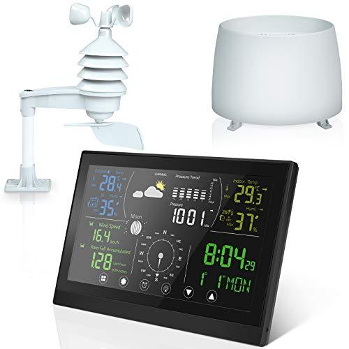 MVPower Wetterstation Funk mit Außensensor, Multifunktionale Funkwetterstation Digitales Farbdisplay DCF-Funkuhr Digital Thermometer Hygrometer Innen und Außen Raumthermomete Hydrometer