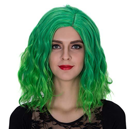 TANTAKO® Brevi Bob Onde Verdi Ombre Parrucche per Donne Parrucca Sintetica per la Parrucca di Halloween Cosplay Party